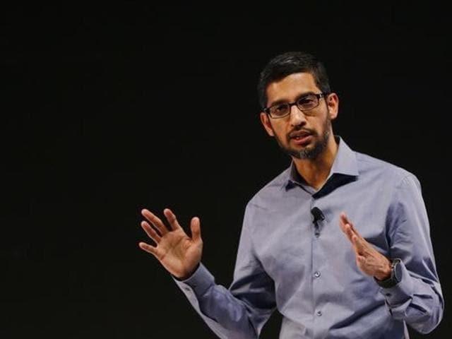 Google CEO Sundar Pichai gestures as he delivers his keynote in New Delhi.
