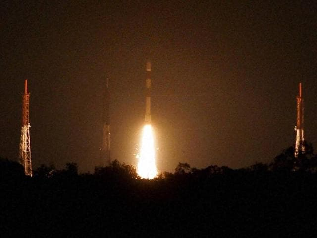 Indian Space Research Organisation's PSLV C 29, carrying six satellites of Singapore, lifts off from the Satish Dhawan Space Centre in Sriharikota on Wednesday.