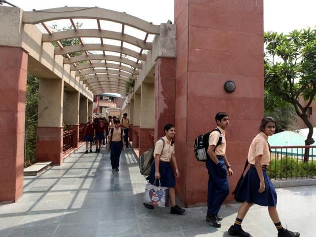 Students of Sanskriti school in Chanakya Puri  in New Delhi.