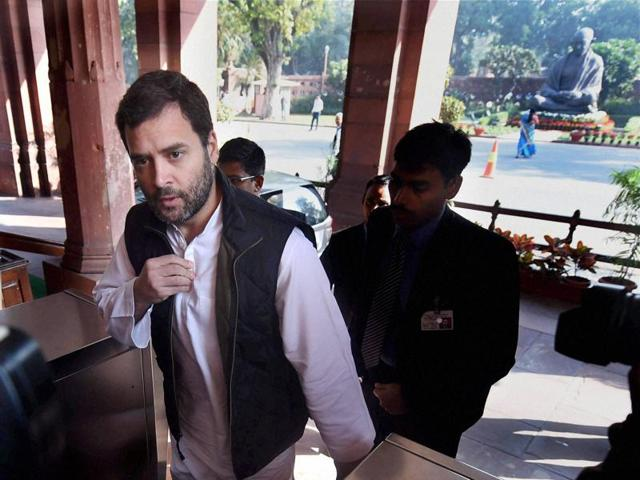 Congress vice-president Rahul Gandhi at Parliament during the winter session. The Delhi high court on Saturday granted bail to Congress president Sonia Gandhi and her son Rahul Gandhi.
