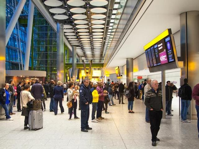 A man was taken to hospital after he repeatedly stabbed himself in the head on Wednesday at London's Heathrow airport.