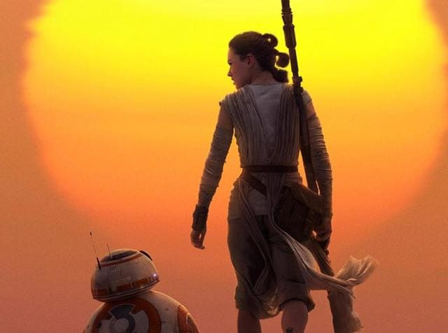 Rey and BB8 head off into the sunset.
