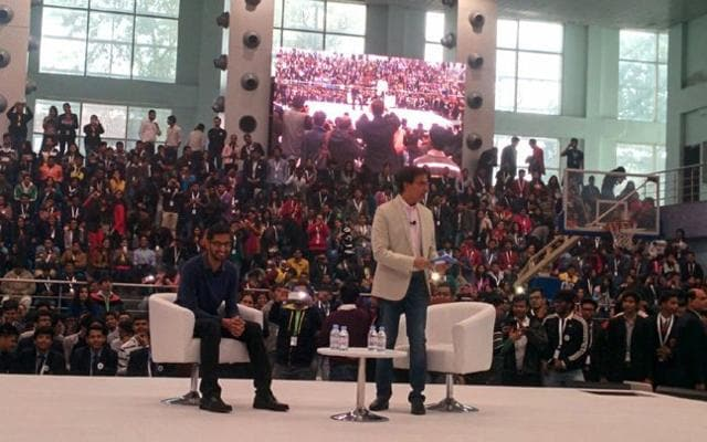 The Google CEO, who is on a two-day India visit, was interacting with Harsha Bhogle at a students meet in SRCC college