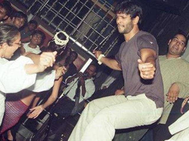 Milind Soman dances a table at Fire & Ice, High Street Phoenix, Lower Parel