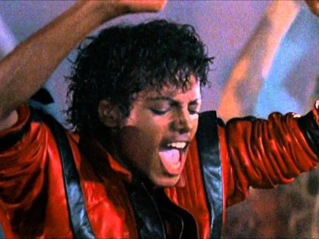Michael Jackson in a still from the music video of Thriller.
