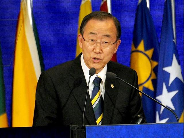 """UN secretary-general Ban Ki moon delivers a speech during a UN conference, in Rio de Janeiro. """"It is unacceptable that the whole Syrian crisis and the solution to the crisis has to be dependent on the fate of one man,"""" Ban said before the new round of international talks."""