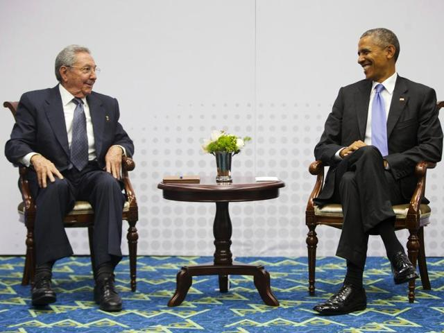 Cuban President Raul Castro, left, and US President Barack Obama at a summit. It was a year ago that Obama and Cuban President Raul Castro shocked the world by announcing the former adversaries would normalize relations.