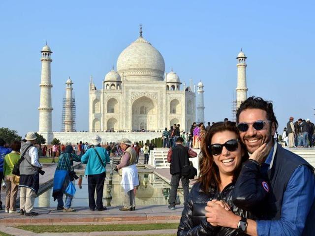 Eva Longoria poses with fiance Jose Antonio Baston at The Taj Mahal in Agra.