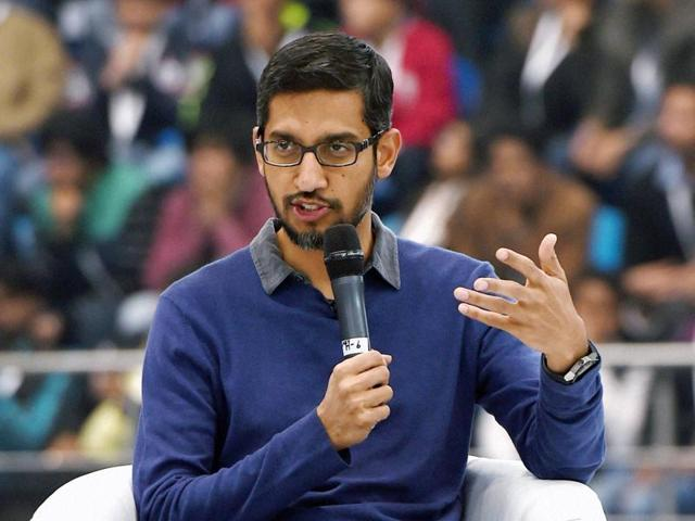 Google CEO Sundar Pichai speaks during an interaction with the students at SRCC in New Delhi on Thursday.