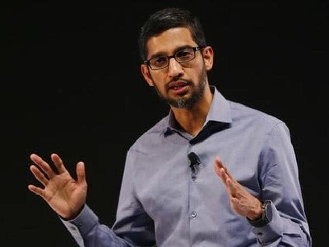 Google CEO Sundar Pichai speaks as he announces the company's plans for expanding products and services in India at a news conference in New Delhi.