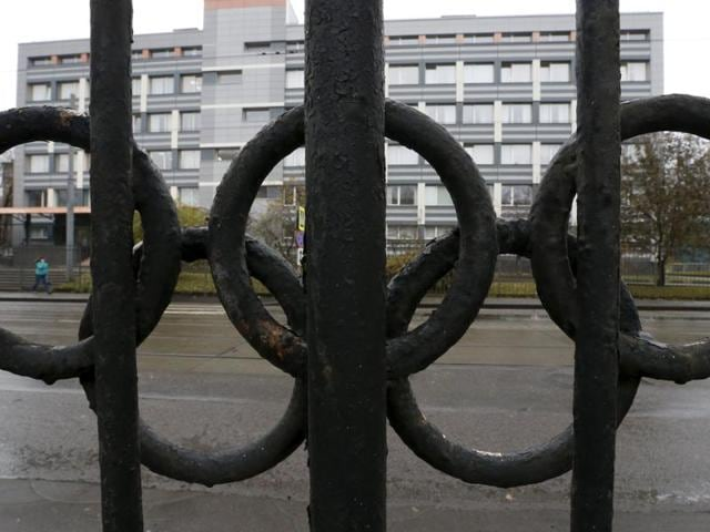 A view through a fence, decorated with the Olympic rings, shows the head office of the Russian Federal Research Centre of Physical Culture and Sports (VNIIFK), on the territory of which a laboratory accredited by the World Anti-Doping Agency (WADA) is located, in Moscow, Russia.