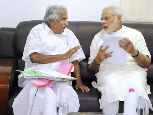 Prime Minister Narendra Modi in a meeting with Chief Minister of Kerala, Oommen Chandy in Kerala.