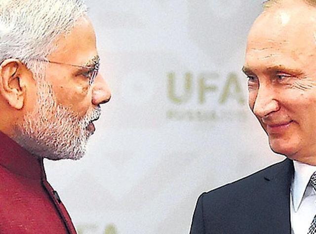 Prime Minister Modi with Russian President Vladimir Putin in Ufa, Russia. (PTI Photo)
