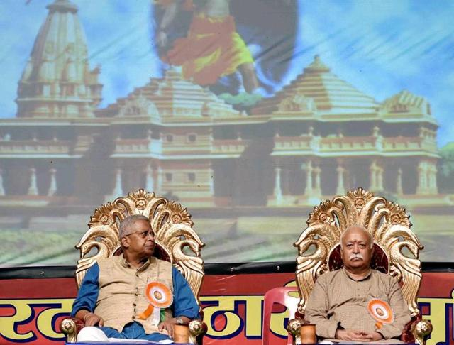 RSS Chief Mohan Bhagwat and Governor of Tripura Tathagata Roy at a programme in Kolkata on Wednesday.