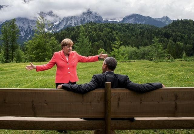 German chancellor Angela Merkel speaks with US president Barack Obama at Schloss Elmau hotel near Garmisch-Partenkirchen, southern Germany.