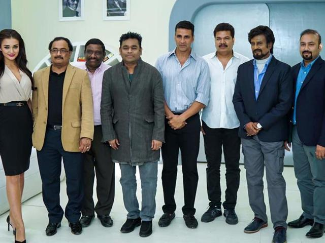 Team 2.o: Actors Akshay Kumar, Rajinikanth and Amy Jackson, music composer AR Rahman, director Shankar and other members of 2.o team pose for a snap in Chennai.(EnthiranTheRobot/Facebook)