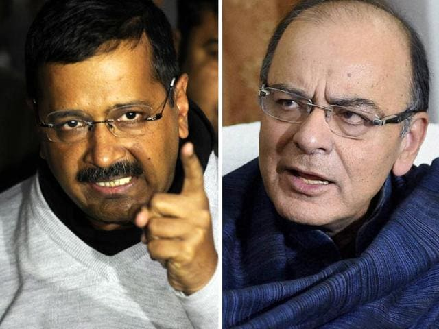 "Delhi chief minister Arvind Kejriwal has sought finance minister Arun Jaitley's resignation over alleged corruption in the Delhi cricket administration and the latter has accused the AAP leader of spreading ""falsehood""."