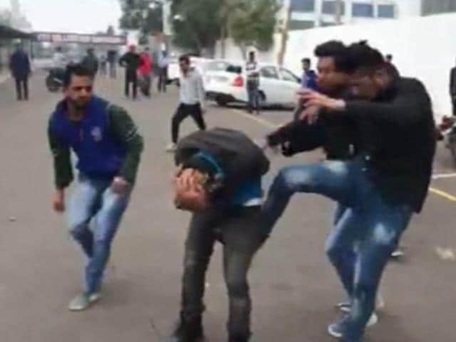 Students from Sikkim and Himachal Pradesh fighting at the Institute of Technology and Future Trends, Mullanpur on Wednesday.