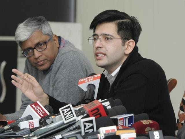AAP spokespersons and leaders Ashutosh, Raghav Chadha, Kumar Vishwas, Sanjay Singh during a press conference on the issue of DDCA construction scam at Constitutional Club in New Delhi.