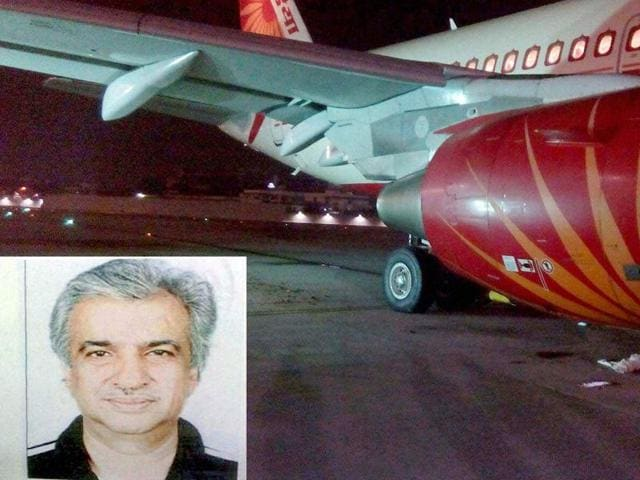 In a freak accident, an Air India technician (inset) Ravi Subramanian died after he got sucked into the live engine of an aircraft at Mumbai's Chhatrapati Shivaji International Airport.