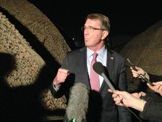 US defense secretary Ash Carter speaks to reporters in Irbil, Iraq.