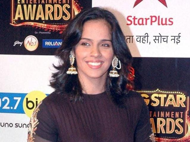 Indian badminton player Saina Nehwal attends the BIG Star Entertainment Awards 2015 ceremony in Mumbai on December 13, 2015.