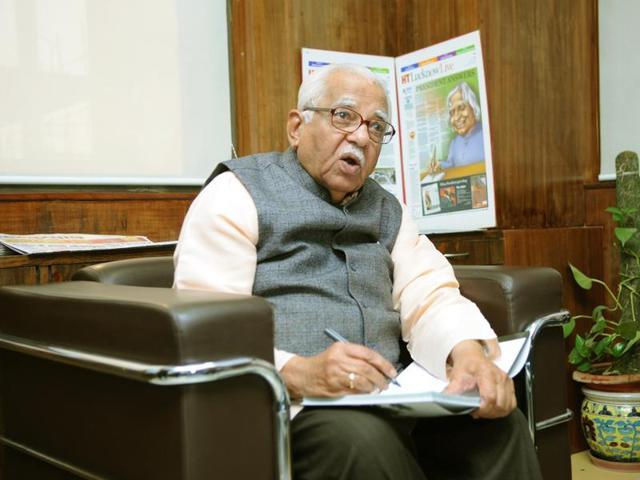 Uttar Pradesh governor Ram Naik at Hindustan Times office in Lucknow.
