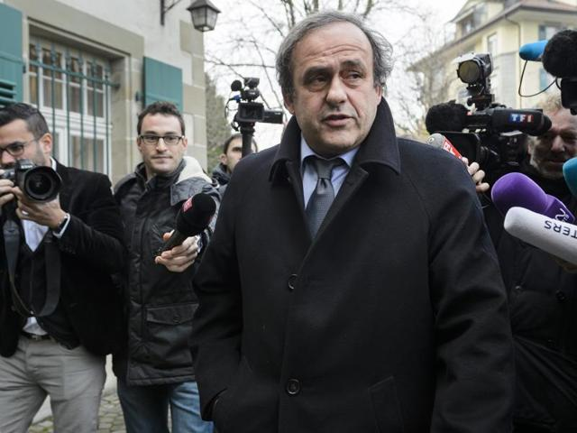 A file phot of UEFA President Michel Platini giving a press conference prior to the 65th FIFA Congress in Zurich.