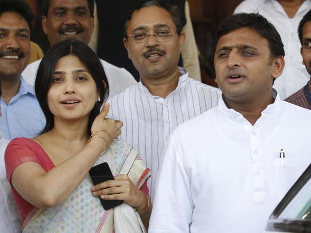 Uttar Pradesh chief minister Akhilesh Yadav and his wife Dimple Yadav were leaving after attending an event at the Vidhan Bhawan in Lucknow when the incident was reported.