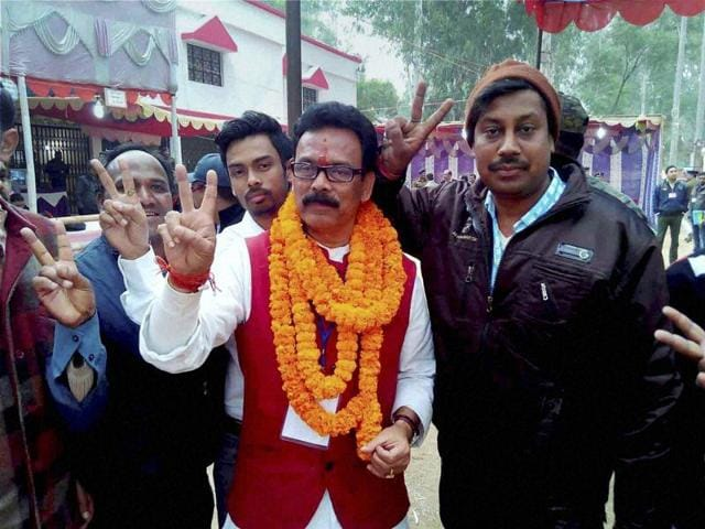State Congress leader Sukhdeo Bhagat celebrates his win in the Lohardaga Assembly bypoll. Experts are calling the NDA's loss of one seat an after-effect of the Bihar elections debacle.