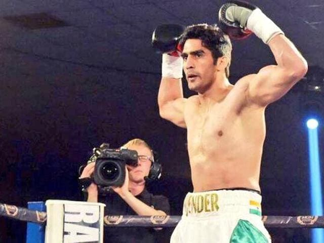 Vijender Singh after winning his second bout as a professional boxer.