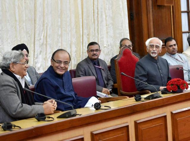 Rajya Sabha chairman Hamid Ansari with union finance minister Arun Jaitley and CPI(M) general secretary Sitaram Yechury during an all-party meeting at Parliament house during the winter session.