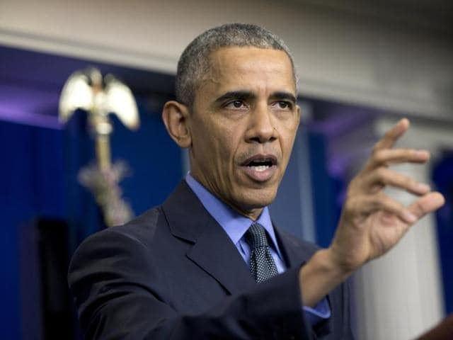 President Barack Obama speaks during a news conference in the White House Brady Press Briefing Room in Washington.