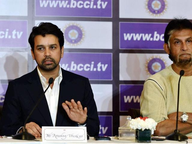 Chief selector Sandeep Patil with BCCI secretary Anurag Thakur during a news conference after a selection committee meeting to pick the India squad for Australia tour, in New Delhi.
