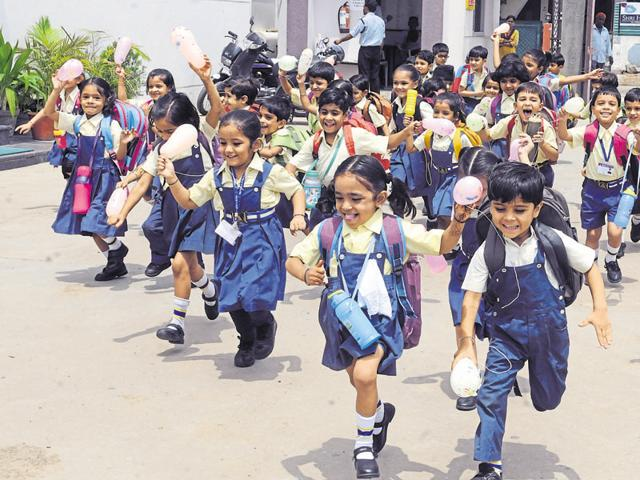 Students of Prestige Public School arriving on the first day of new academic session in Indore.