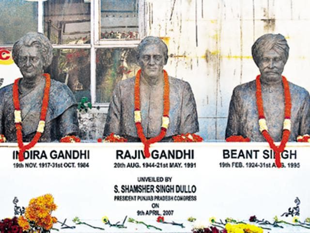 Busts of senior Congress leaders at the Punjab Congress Committee office in Chandigarh on Friday. All three were assassinated by terrorist.