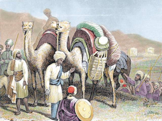 A caravan of camels resting in Antioch, the ancient city on the Silk Road, in a 19th-century coloured engraving. The expression 'Silk Road', an attractive (if misleading) phrase coined in the late 19th-century, adds a neat marketing flourish to this book.
