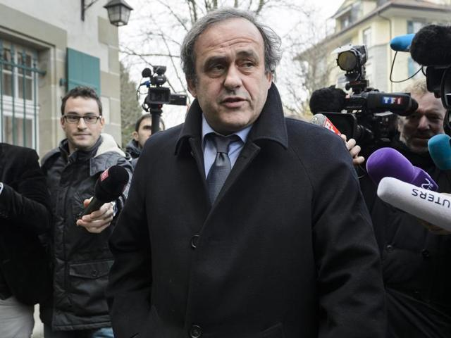 A file phot of ex- UEFA President Michel Platini delivering a press conference prior to the 65th FIFA Congress in Zurich.