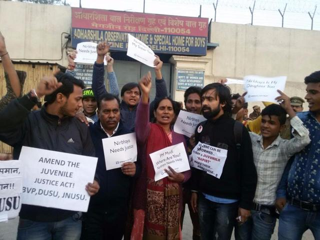 ABVP, DUSU, JNUS activists along with parents of Nirbhaya held a protest against the release of the juvenile convict in the December 16th rape case. They were detained by the Delhi police on Saturday.