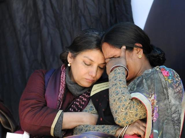 Actress Shabana Azmi consoles Nirbhaya's mother. The juvenile convict in the December 16 gang rape case escaped the gallows because he was 17 years and nine months old at the time of his arrest. Three of his co-accused are currently on death row.