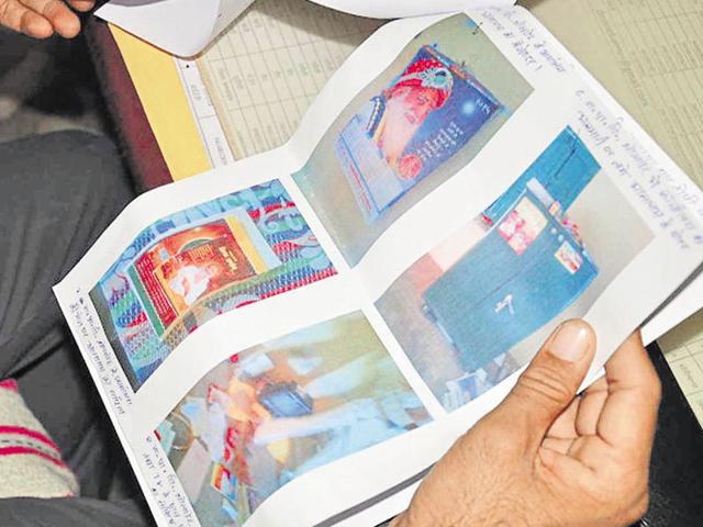 A photo of the Asaram-related material allegedly distributed at the village school.