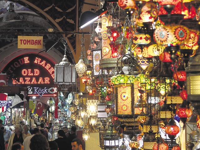 Inside the Grand Bazaar in Istanbul, one of the largest and oldest covered markets in the world, which attracts thousands of visitors daily.