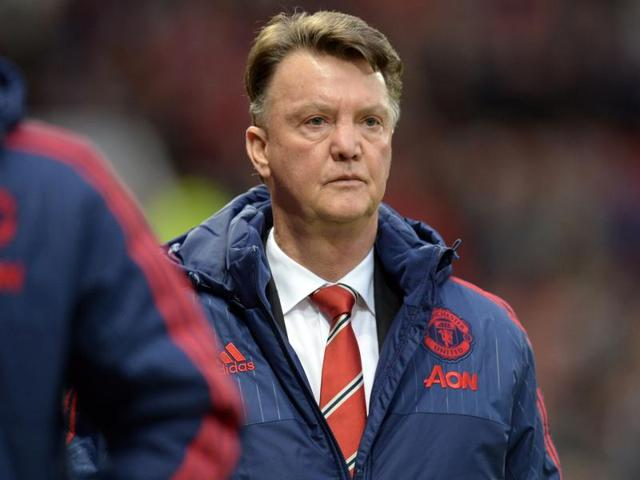 Manchester United's manager Louis van Gaal  makes his way from the pitch after his team's 2-1 loss to Norwich City in the English Premier League  match between Manchester United and Norwich City at Old Trafford Stadium, Manchester.