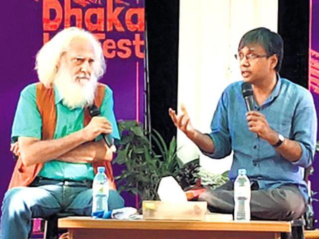 Poet Arvind Krishna Mehrotra and writer Amit Chaudhuri at the Dhaka literature festival (right).