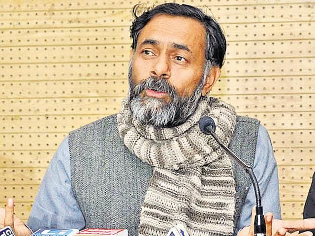 Yogendra Yadav during a press conference in Chandigarh on Sunday.