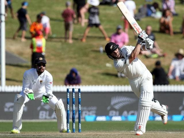 Kane Williamson of New Zealand plays a shot on day three of the second Test cricket match between New Zealand and Sri Lanka at Seddon Park.