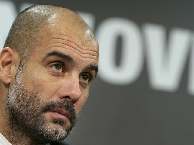 Bayern Munich's coach Pep Guardiola during the match against Hannover 96.