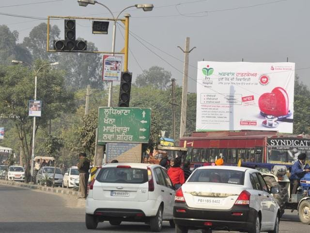 Hoarding along National highway at Samrala in Ludhiana on Sunday.
