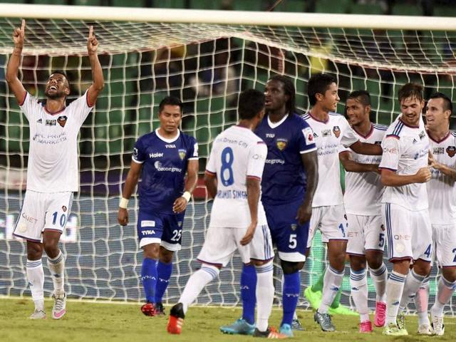 A file photo of FC Goa players celebrating for second goal against Chennaiyin FC during the Indian Super League (ISL) match at Jawaharlal Nehru Stadium.