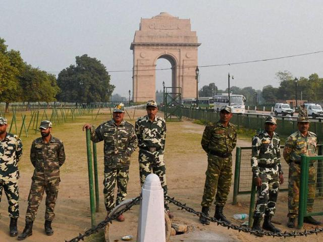 Tight security at the India Gate ahead of the protest by parents of the December 16 gangrape victim in New Delhi on Sunday.
